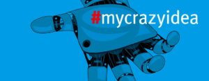 Robotic hhand with hashtag mycrazyidea
